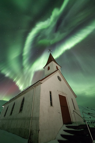 Aurora borealis in Reyniskirkja near Vik (Iceland)