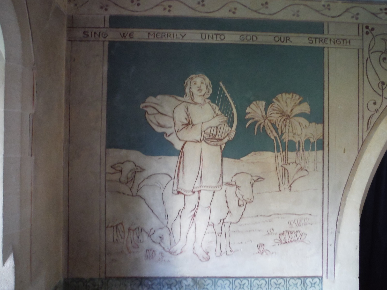 Mural in St. Mary's, Beenham Valence SWC Walk 117 Aldermaston to Woolhampton (via Stanford Dingley)