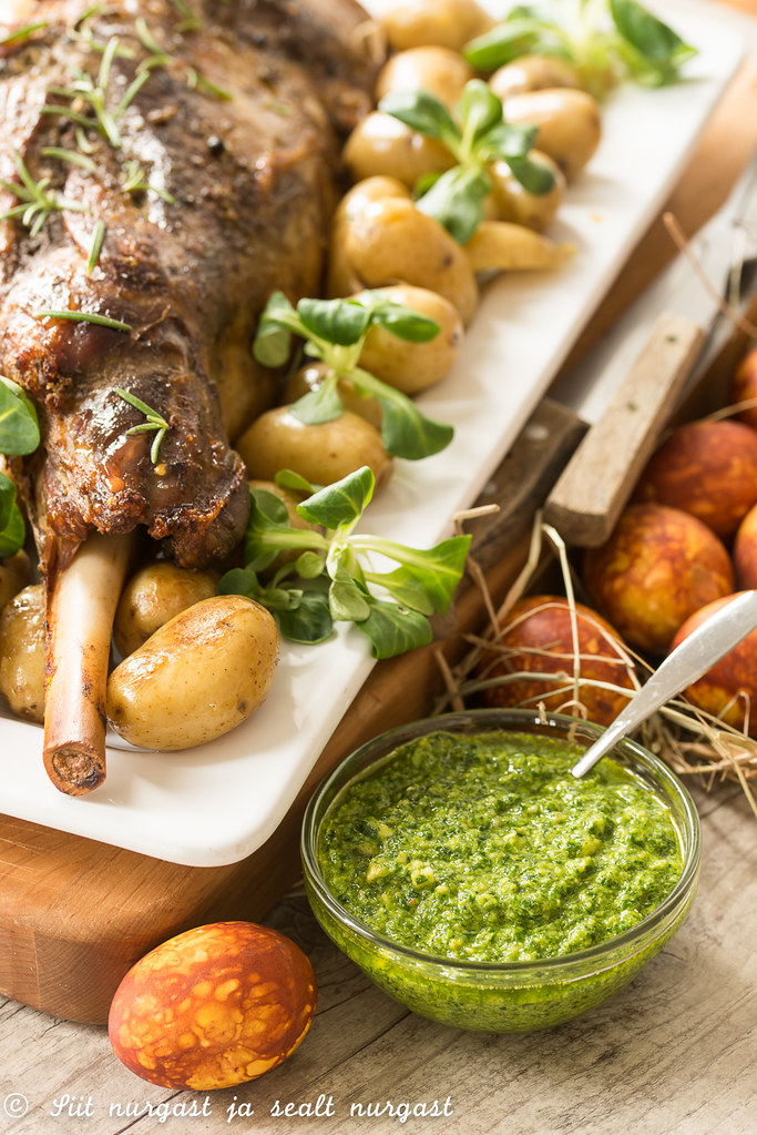 slow roasted easter lamb with herb sauce