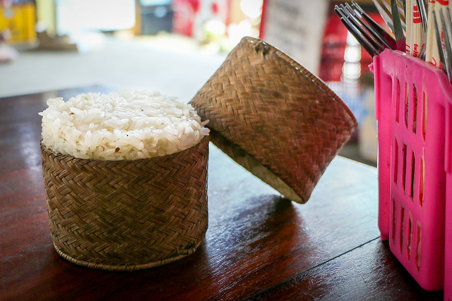 Sticky rice in the basket, at a local restaurant in Laos ラオスのもち米のご飯「カオ・ニャオ」