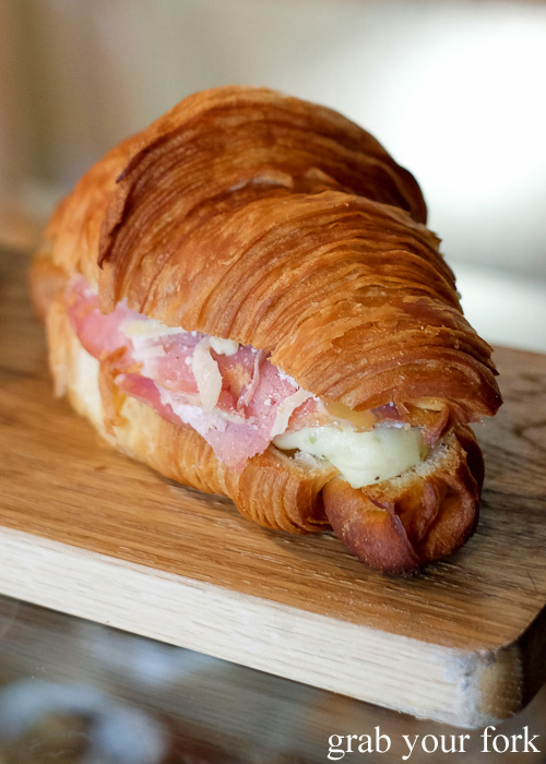 Barry Croquer croissant with gruyere, bechamel, leg ham and cornichons at Abbots and Kinney, Adelaide