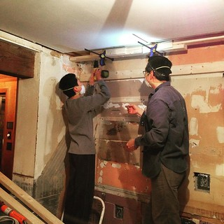 Soffit building teamwork.  #kitchenremodel #diy #lovemyhandyhubby #likefatherlikeson