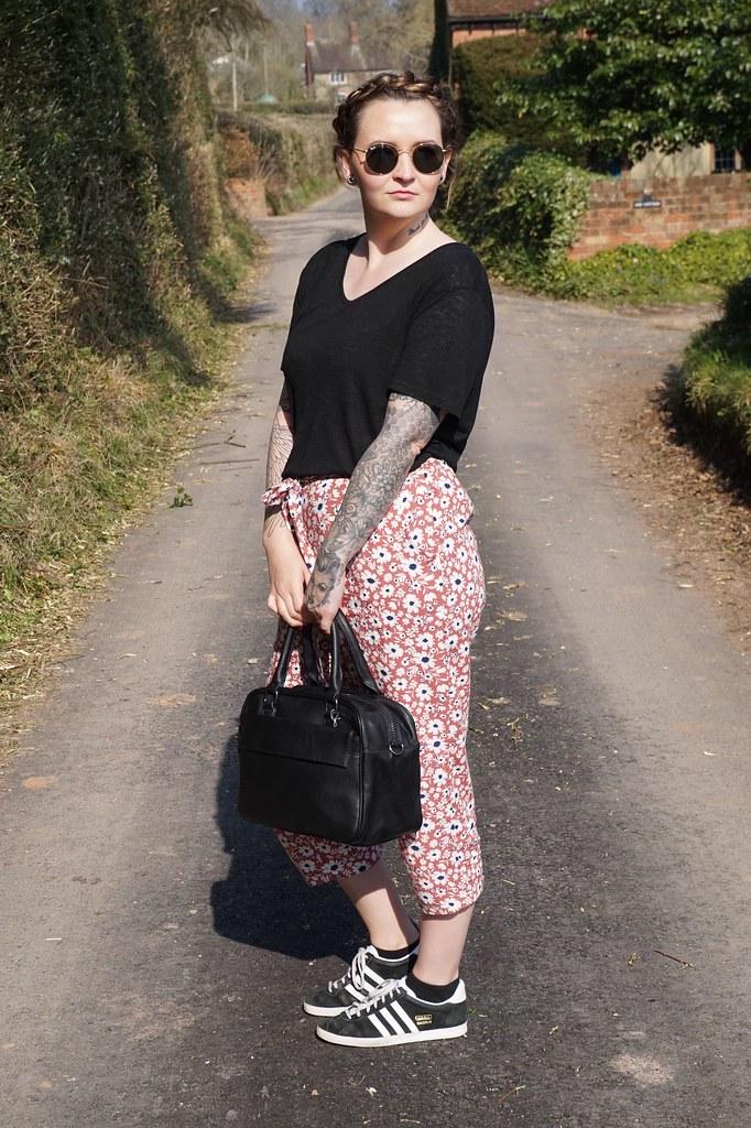 marc b,marc b bags,marc b gemma bag,outfit,ootd,floral trousers, adidas gazelle, plait.hair braid, spring outfit,style blogger,katelouiseblog,