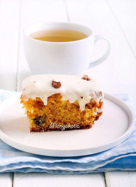 Carrot and walnut bar with frosting
