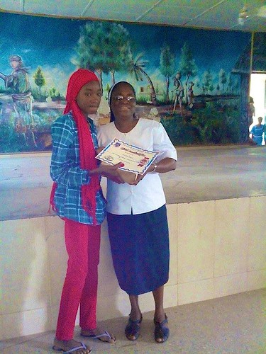 One of the winners of the recent St Louis Secondary School, Kano, talent show, received her award from Sr Catherine