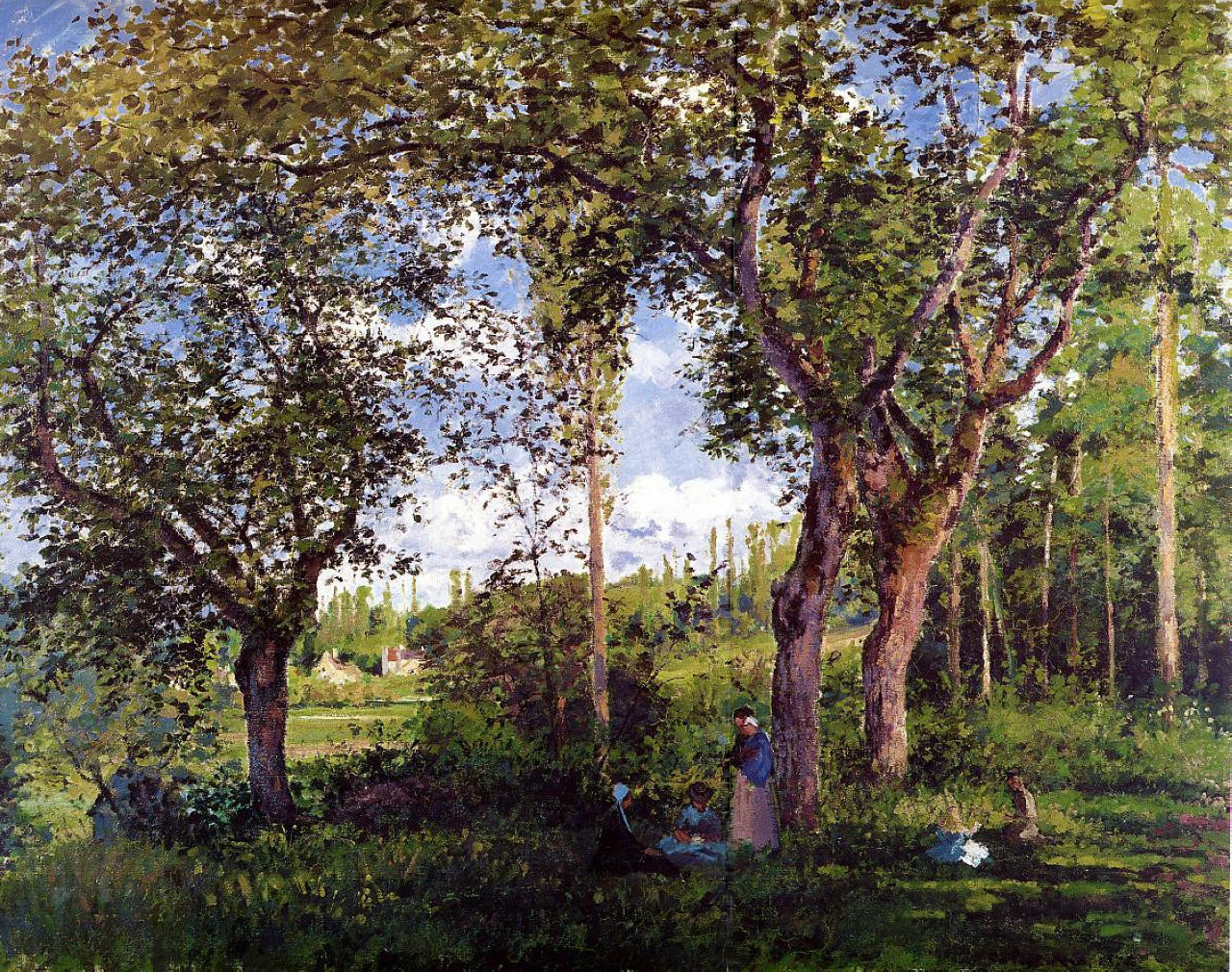 Landscape with Strollers Relaxing under the Trees by Camille Pissarro, 1872