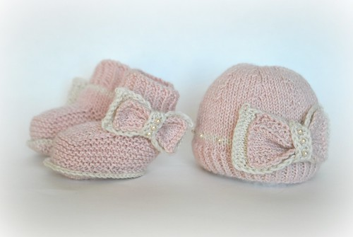 Pretty baby booties and cap