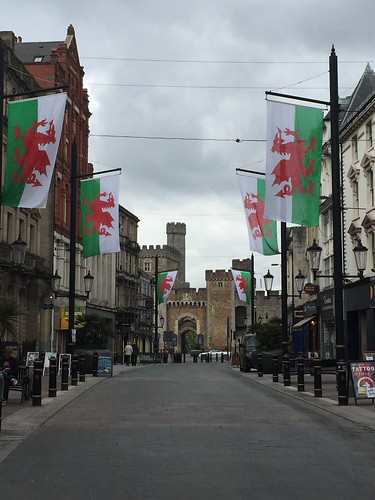 Cardiff castle entrance, as seen from Cardiff high street