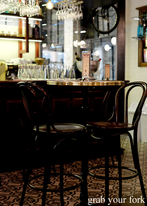 Bar stool seating at Bistrot Gavroche in Chippendale