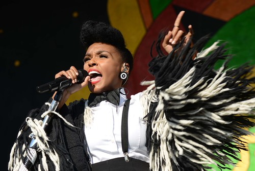Janelle Monae at the Congo Square Stage Day 1 of Jazz Fest 2016.  Photo by Leon Morris.