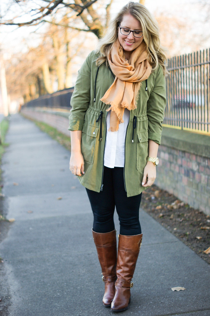 olive coat with tan accessories