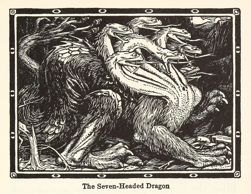 "John D Batten - The Seven Headed Dragon, Illustration from ""Europa's Fairy Book,"" 1916"
