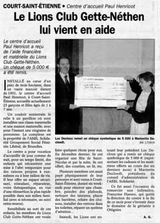 Chèque Centre Henricot 2003