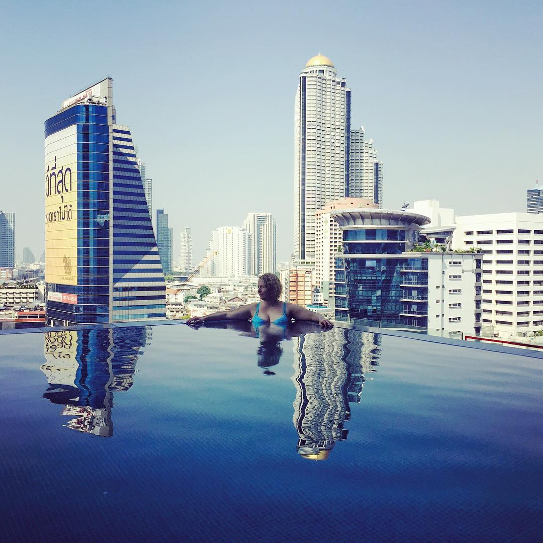 We're already back home – returned to the cold and rainy Helsinki just last night – but why not look back to the beginning of our trip... This picture was taken on our first day in Bangkok by our hotel's infinity pool. The weather wasn't just as steaming