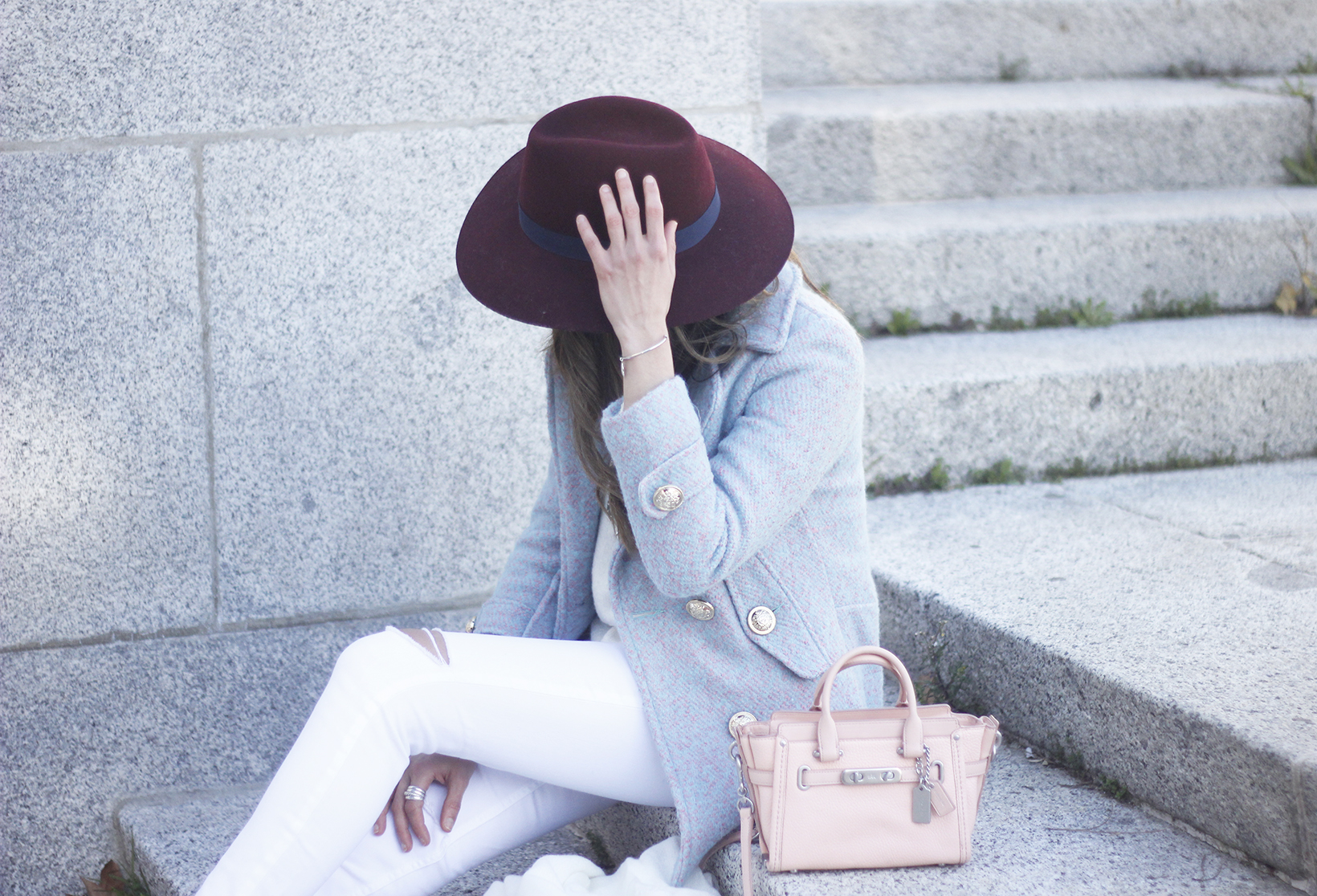 Blue Coat White outfit burgundy hat pink bag coach accessories style05