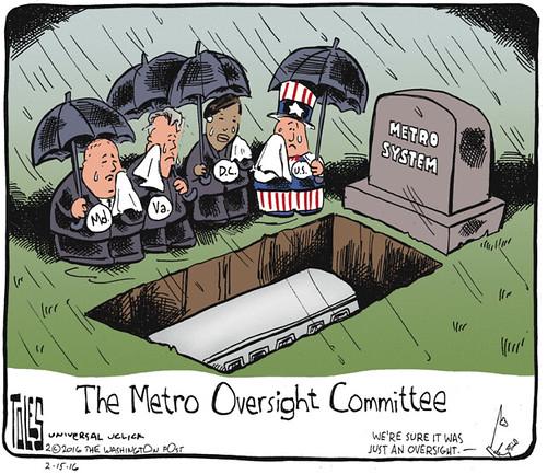 Tom Toles editorial cartoon, 2/15/2016, decline of WMATA/Metorail