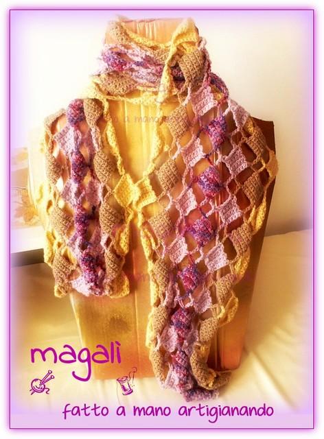 sciarpa quadratini pieni e vuoti panna beige lilla (4)