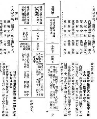 名神高速道路と中央自動車道の路線番号