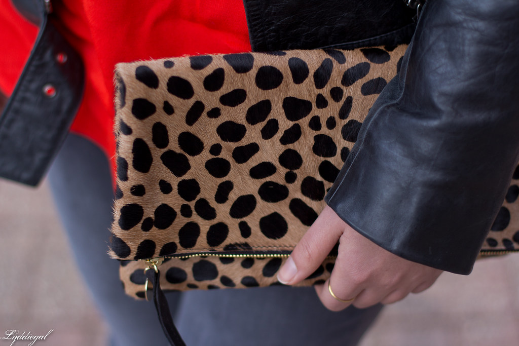 grey jeans, red blouse, black leather jacket, leopard clutch-10.jpg