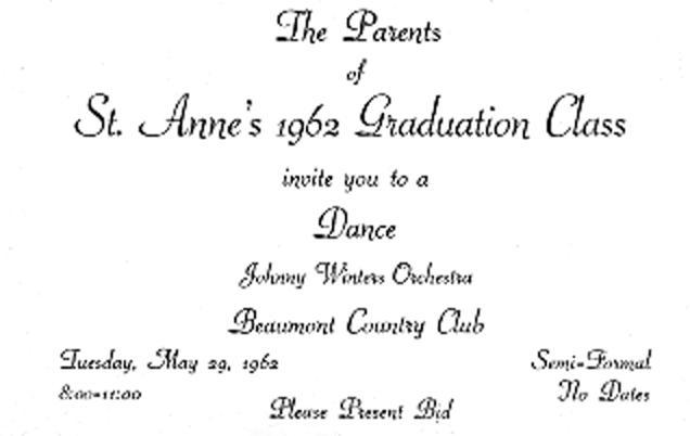 Johnny Winter's Orchestra Graduation Dance, Beaumont Country Club