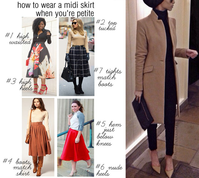 how to style midi skirt when you are petite