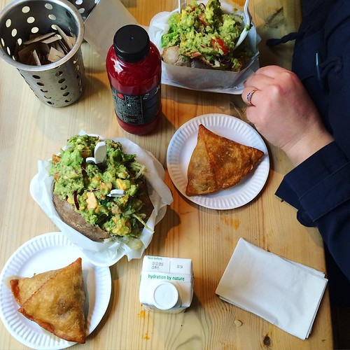 I found more photos from last weekend's trip to #eyf2016 including lunch at the Baked Potato Shop with @sara_trucraft because guacamole and cheddar go on #bakedpotato and vegetarian haggis samosas must be tried!