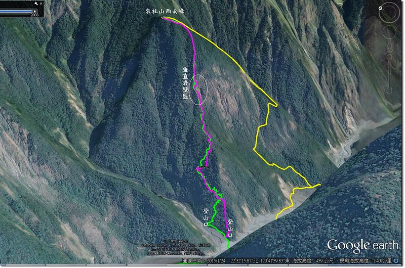 來社山西南峰登山路線圖 1