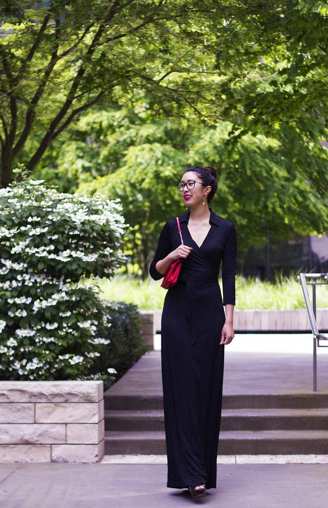 dvf black maxi dress