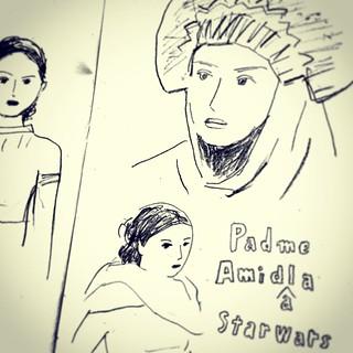 スターウォーズ見ました。ナタリーポートマンが綺麗〜〜   でも似顔絵難しい… #starwars   #似顔絵  #illustration #sketch #drawing #線画  #portrait  #人物 #people  #satoshigemi