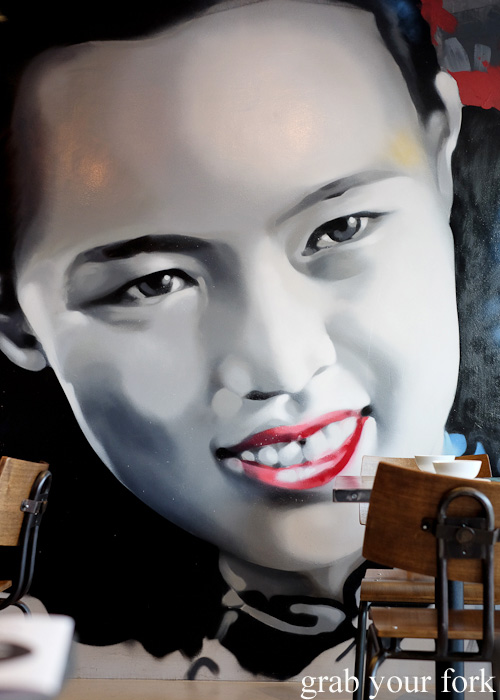 Mural on the dining room at Yang and Co Castlecrag