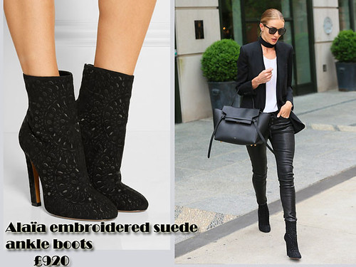 Rosie Huntington-Whiteley  in Alaïa embroidered suede ankle boots