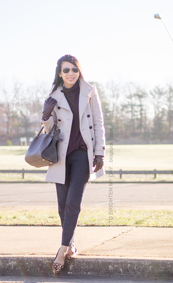 gray wool trench coat, purple turtleneck sweater, navy trousers, purple leather gloves, leopard flats