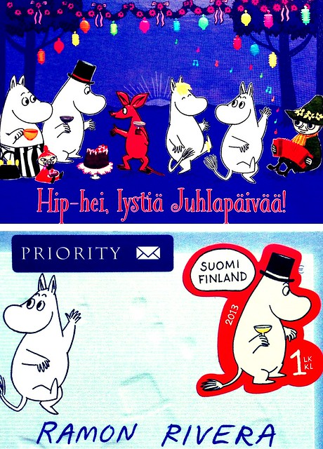 Finland Moomin stamps and postcard