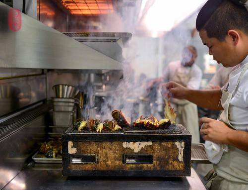 Grilling lobster.