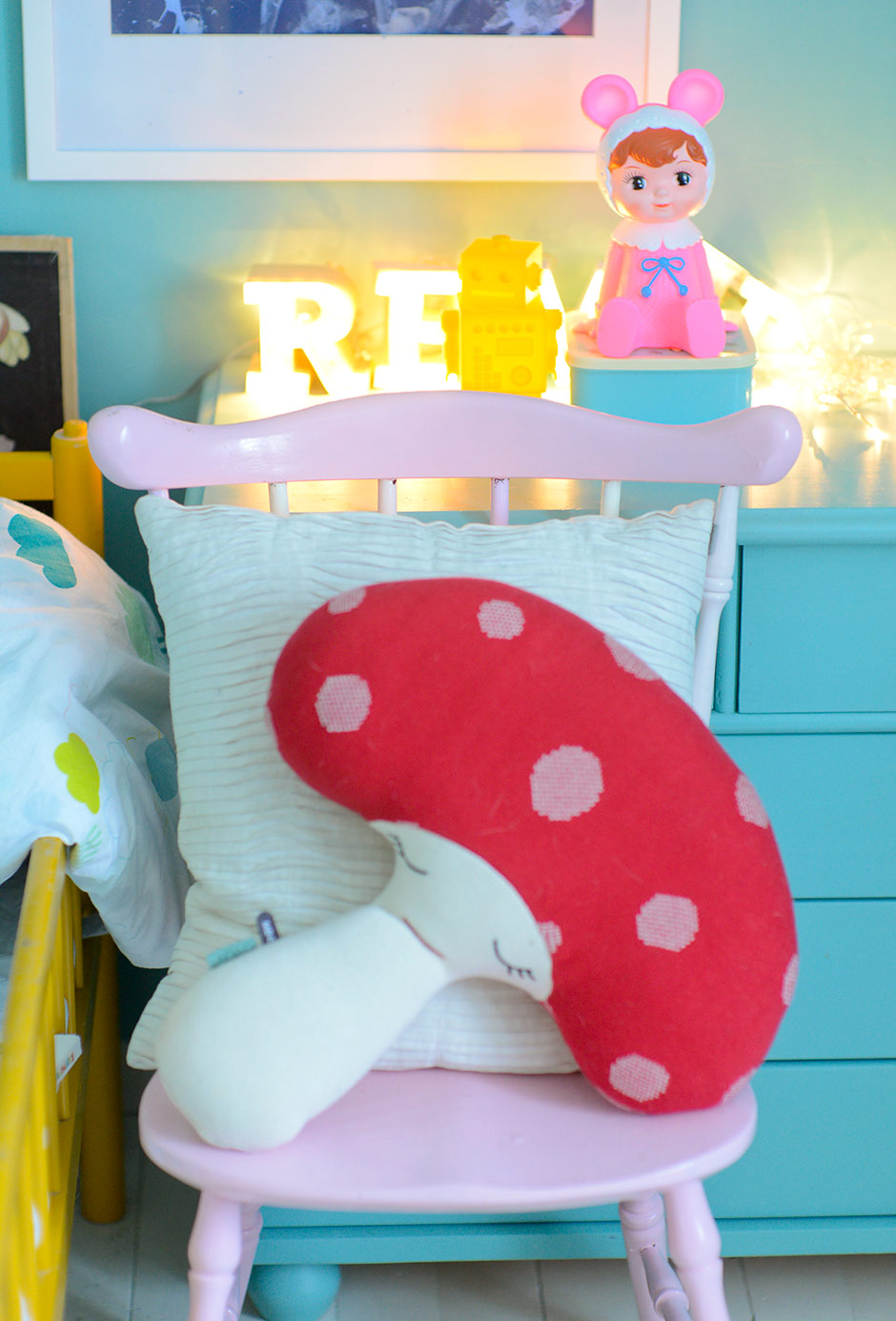 Cute OYOY mushroom cushion and Lapin & Me Woodland doll