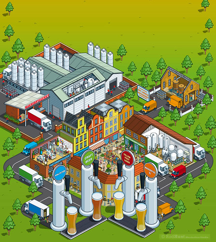 c/o Hops Magazine Cover. Isometric Pixel Art Editorial Illustration by Rod Hunt