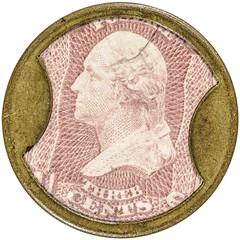 Three Cent John Norris Encased Postage Stamp obverse