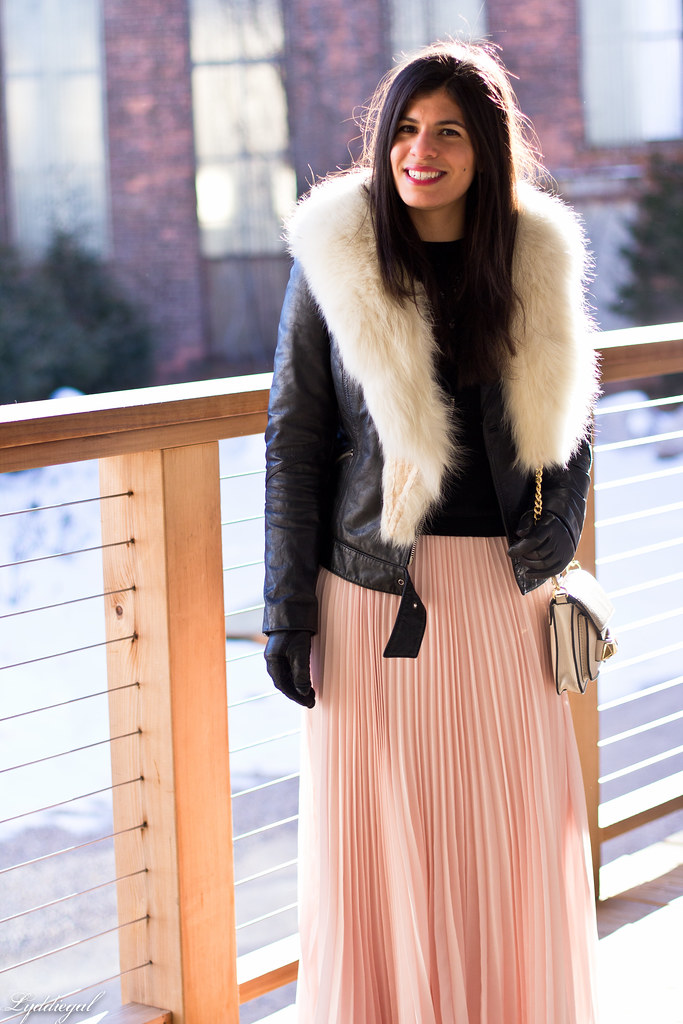 blush pleated maxi skirt, leather moto jacket, fur collar-3.jpg