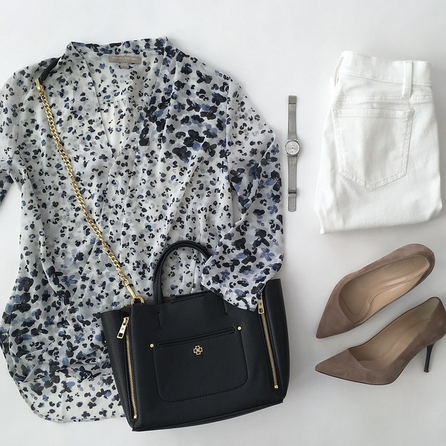 Spring Wardrobe Cheat Sheet - Banana Republic Factory blouse outfit