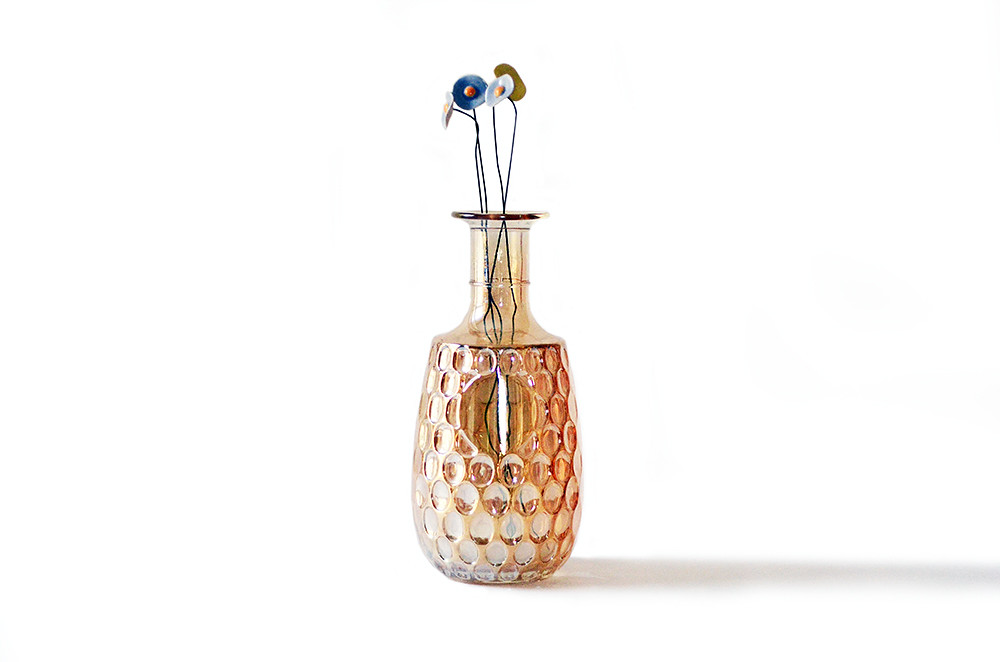 Vintage Amber Iridescent Glass Vase