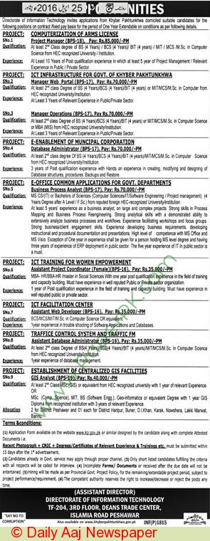 Directorate Of Information & Technology Peshawar Jobs 2016