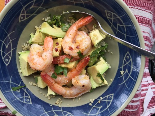 April 1 #dailylunches - shrimp, avocado, quinoa bowl