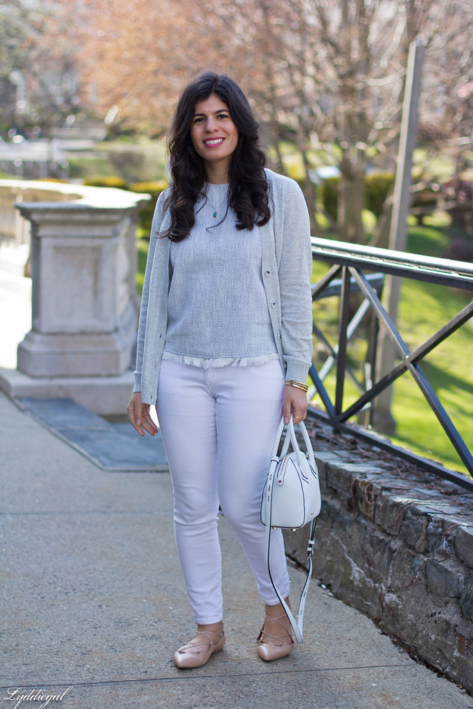white jeans, grey cardigan, nude lace up flats-1.jpg