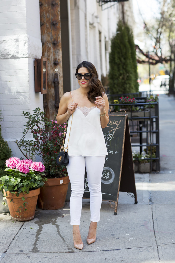 weekend style what to wear to dinner white spring white lace cami cami NYC hudson white skinny jeans chloe drew back new york fashion blogger corporate catwalk what to wear in the spring how to wear white denim jeans christian louboutins pigalle 100mm chloe black drew mini how to wear white this spring prada black cateye sunglasses