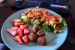 Yves Meatballs, Strawberries, and Salad with Bacon…