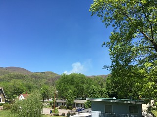 Smoke rising from the forest fire north of Hot Springs