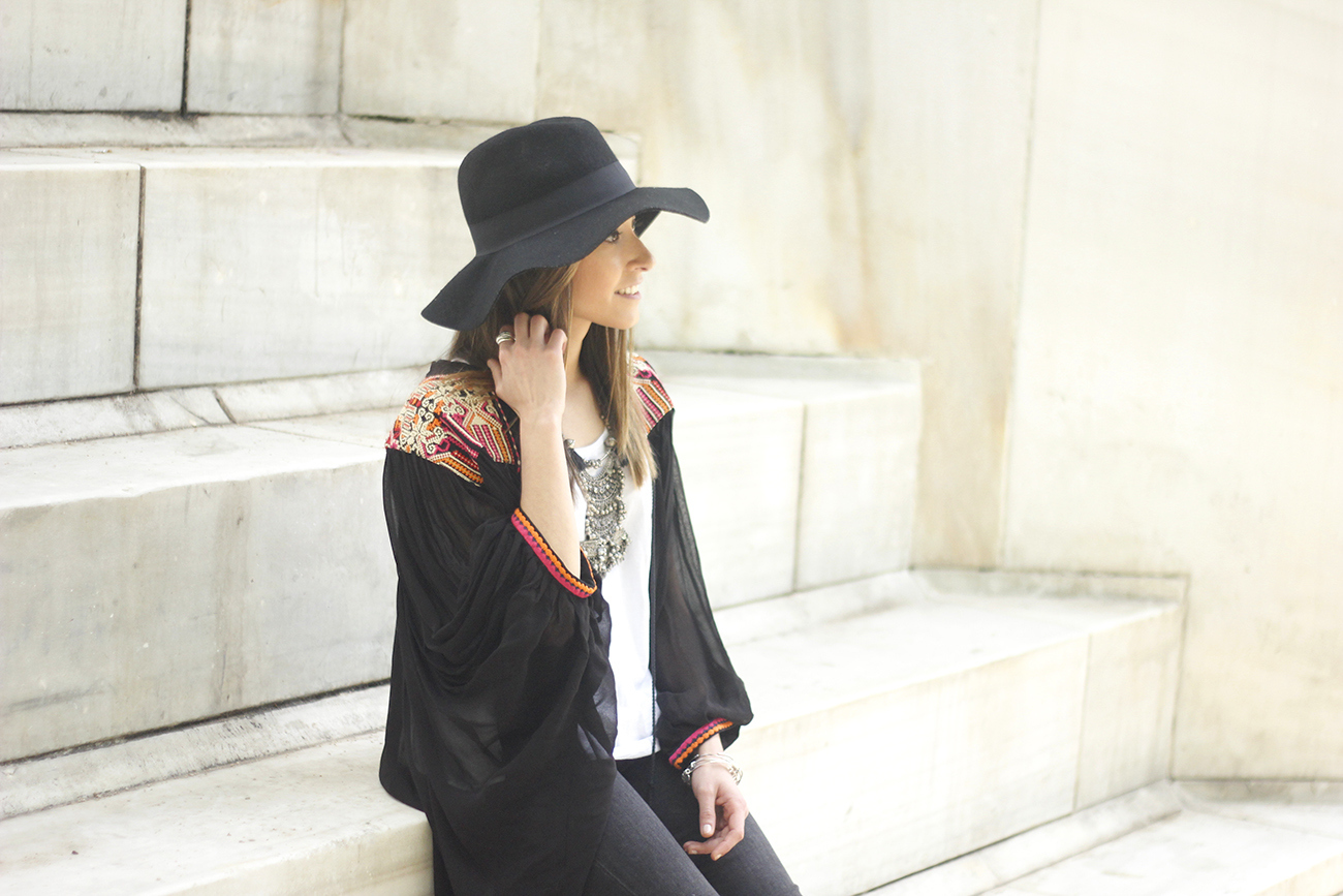 embroidered kimono flared jeans Hat Heels outfit style05