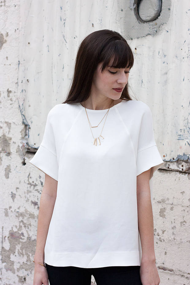 Minimalist Shirt, Stella and Dot Necklace