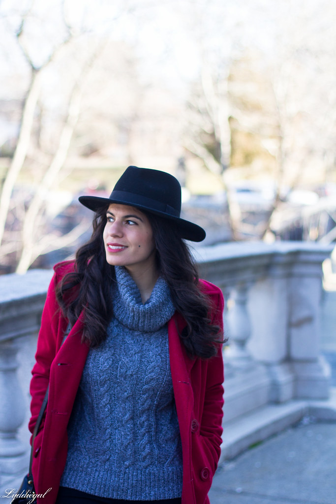 grey sweater, black denim, red peacoat, fedora-2.jpg