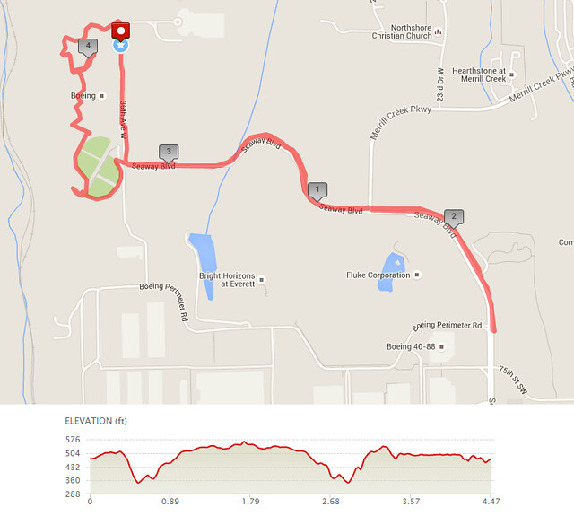 Today's awesome walk, 4.47 miles in 1:28, 9,608 steps, 410ft gain